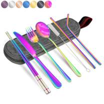 Annvchi Office Cutlery Set with Case for Lunch School Camping Office - Straw, Straight Straw, Knife, Fork, Spoon, Chopsticks, Cleaning Brush 8 Piece (Rainbow Multicolor)
