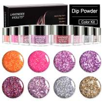 Dip Powder 8 Sparkle Color Kit 0.5 oz/bot. Acrylic Nail Dipping Color Refill Set for Salon Starter Dip Nail Manicure Pedicure Quick Dry Long Lasting No UV Nail Lamp Needed J774