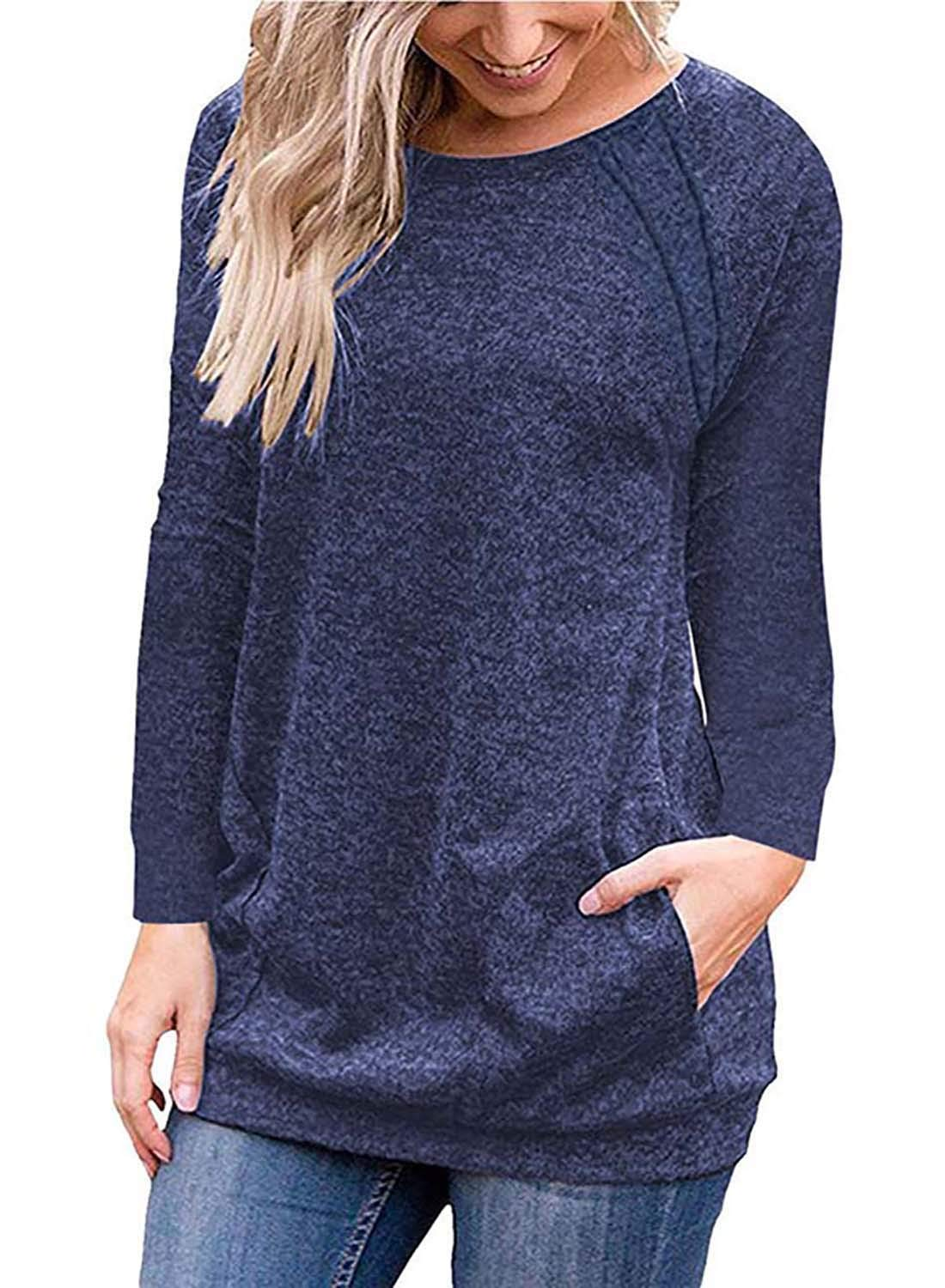 Ruiyige Women's Comfort Casual Loose Fit Tops Blouse T-Shirts with Pockets