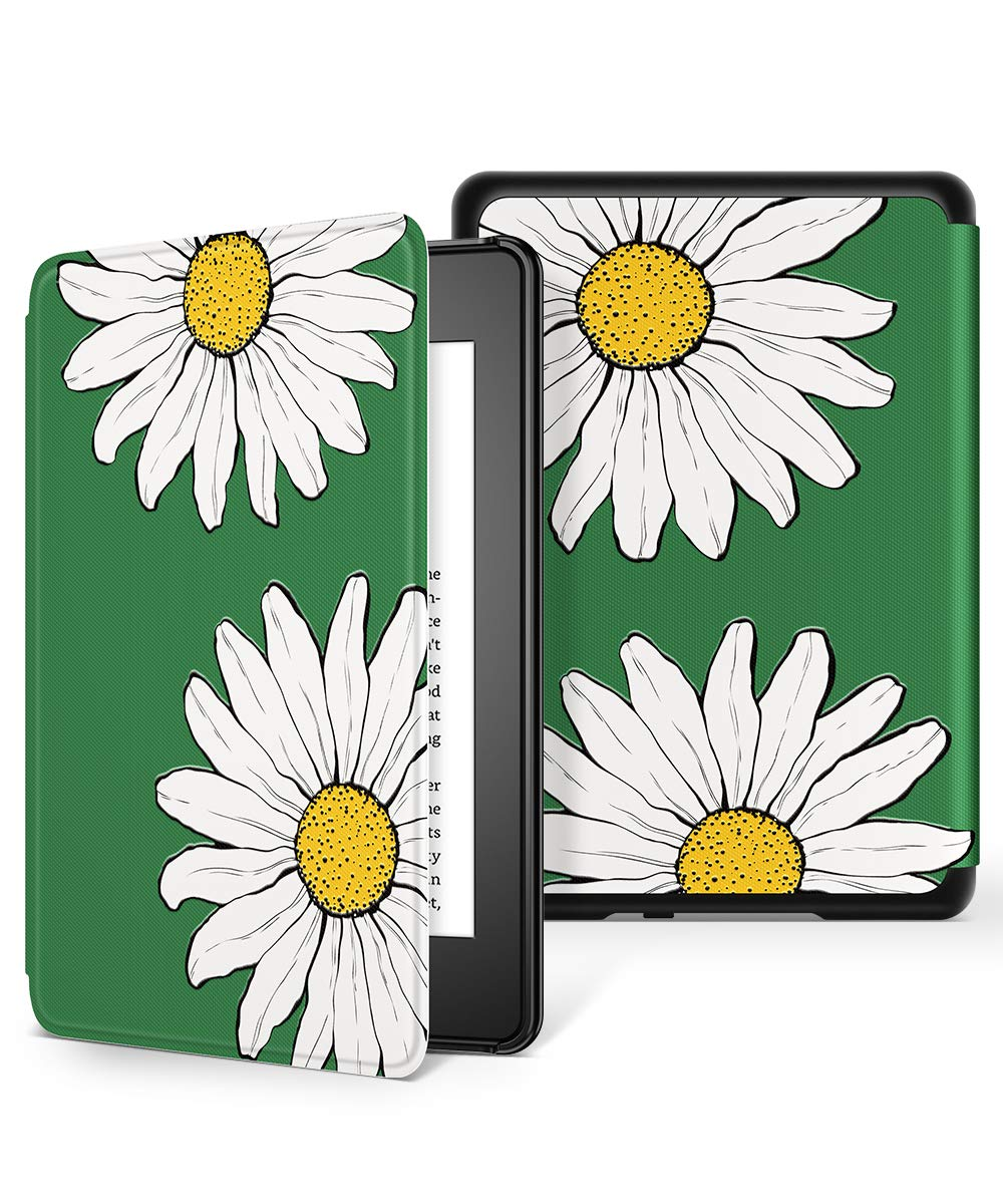 GVIEWIN All-New Kindle Paperwhite 10th Generation 2018 Case, Water-Safe Flowers Pattern Leather PC Hard Shell Auto Wake/Sleep Cover for eBook Reader 10 Generation (Sunflowers/White)