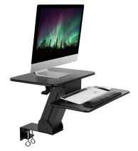 Mount-It! Sit Stand Desk Mount, Ergonomic Height Adjustable Tabletop Standing Desk with Stable Clamp Mount