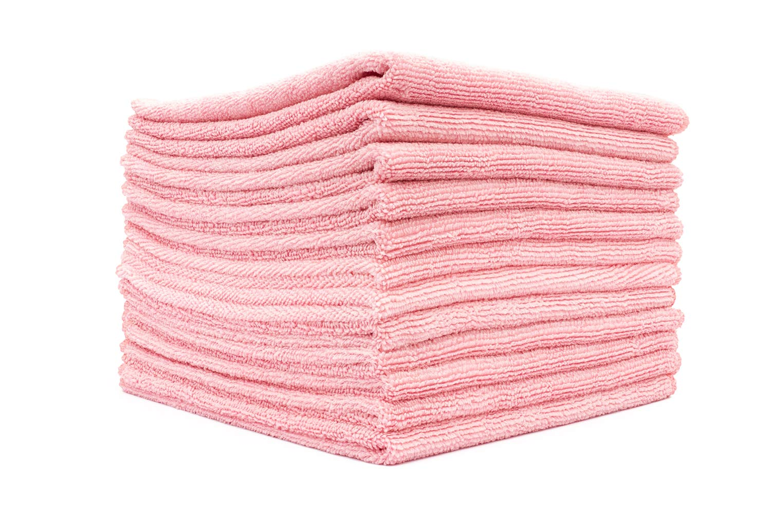 The Rag Company (12-Pack) 12 in. x 12 in. Commercial Grade All-Purpose Microfiber Highly Absorbent, LINT-Free, Streak-Free Cleaning Towels (Pink)