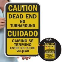 "SmartSign""Caution - Dead End No Turn Around"" Bilingual Sign | 12"" x 18"" 3M Engineer Grade Reflective Aluminum"