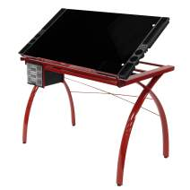 Studio Designs Futura Modern Glass Top Adjustable Drafting Table Craft Table Drawing Desk Hobby Table Writing Desk Studio Desk with Drawers, 38''W x 24''D, Angle Adjustable Top in Red / Black Glass