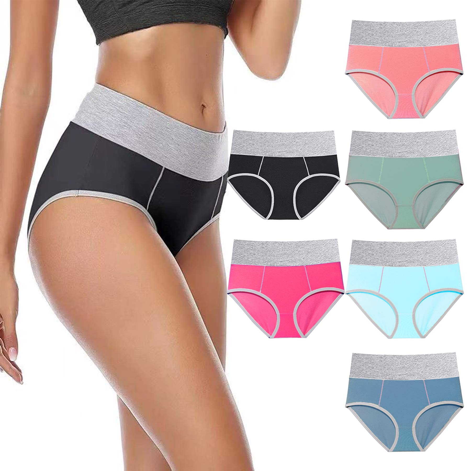 Women's Underwear High Waisted Soft Breathable Panties Full Coverage Stretch Ladies Briefs