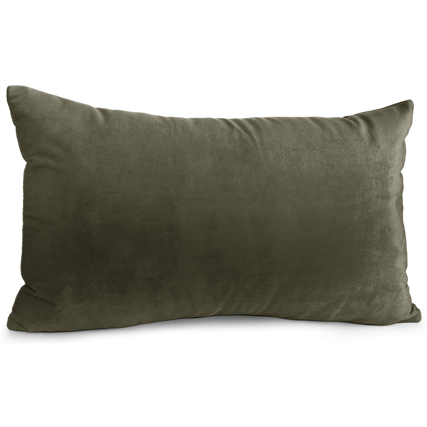 """Nestl Bedding Throw Pillow Cover 12"""" x 20"""" Soft Square Decorative Throw Pillow Covers Cozy Velvet Cushion Case for Sofa Couch Bedroom - Khaki"""