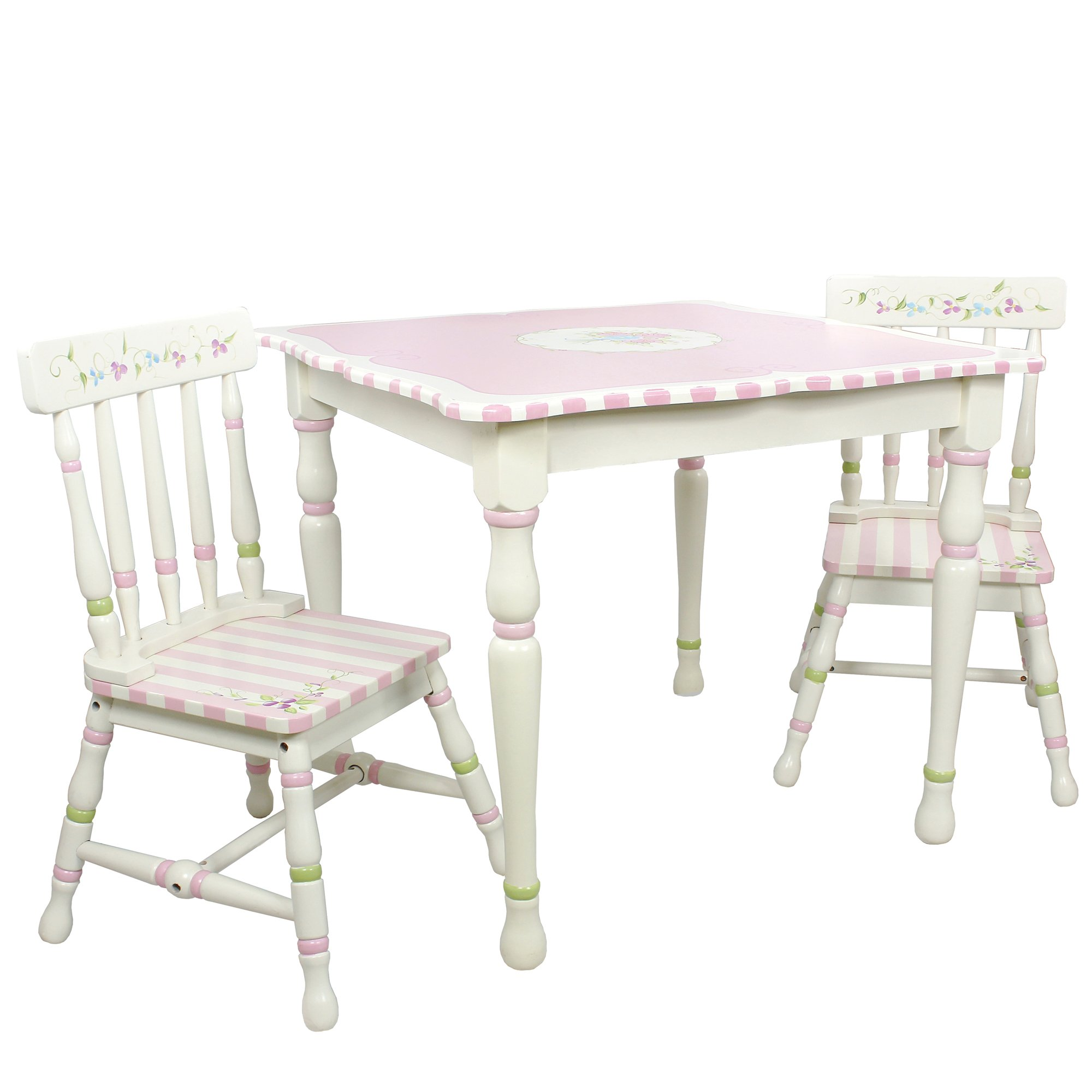 Fantasy Fields - Bouquet Thematic Hand Crafted Kids Wooden Table and 2 Chairs Set  Imagination Inspiring Hand Crafted & Hand Painted Details   Non-Toxic, Lead Free Water-based Paint