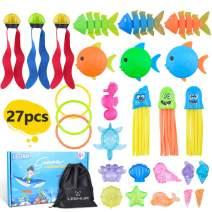 LEEHUR Pool Toys for Kids 3-10 Swimming Pool Toys Swim Dive Toys Underwater Summer Gift for Boys Girls 27PCS