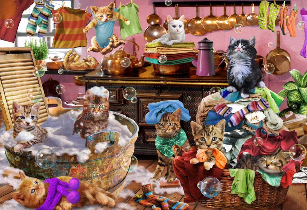 Vermont Christmas Company Kittens in The Kitchen Kid's Jigsaw Puzzle 100 Piece