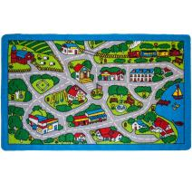 "Mybecca Kids Rugs Street Map in Grey 5' X 7' Childrens Area Rug - Non Skid Gel Backing (59"" x 82"")"