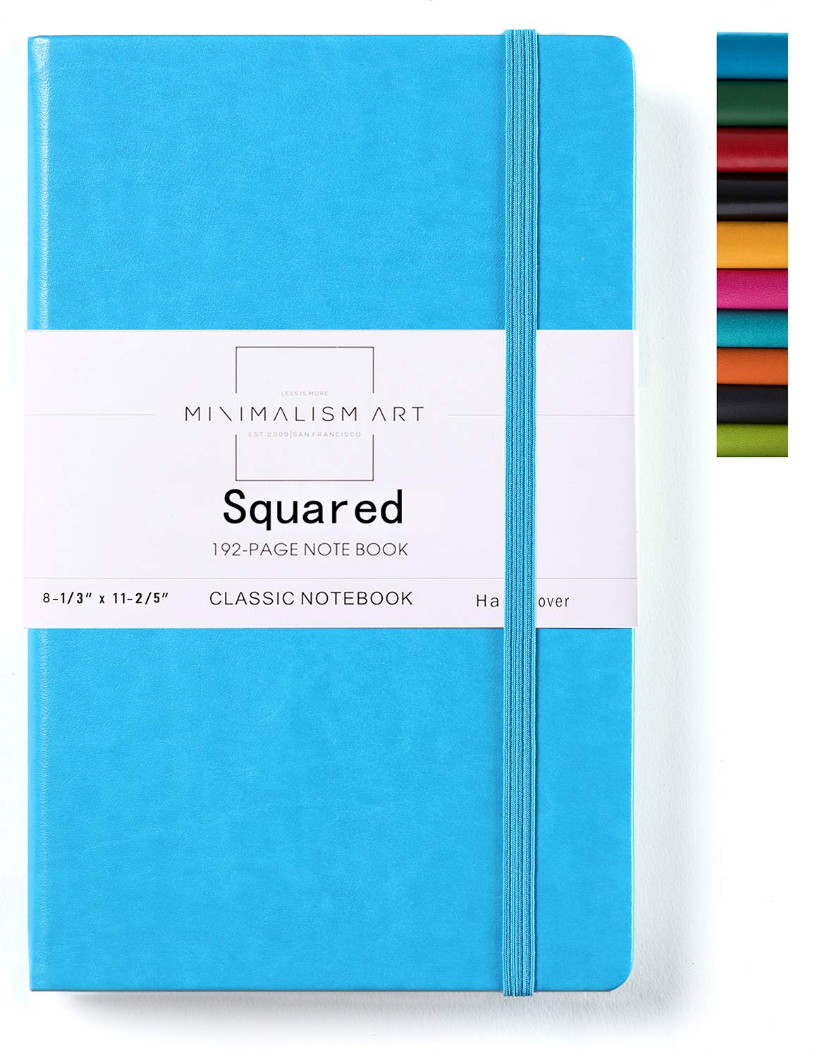 Minimalism Art, Classic Notebook Journal, A4 Size 8.3 X 11.4 inches, Blue, Squared Grid Page, 192 Pages, Hard Cover, Fine PU Leather, Inner Pocket, Quality Paper-100gsm, Designed in San Francisco