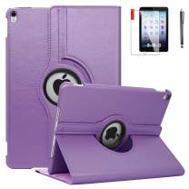 NEWQIANG iPad Case 6th Generation with Bonus Screen Protector and Stylus - iPad 9.7 inch Air1 2018 2017 Case Cover - 360 Degree Rotating Stand, Auto Sleep Wake - A1822 A1823 (A8 - Light Purple)