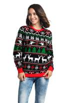 Unisex Ugly Women's Christmas Sweater Knitted Reindeer Pom Pom Santa Holiday Pullover Festive