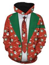 PIZOFF Mens 3D Digital Print Christmas Ugly Hoodie with Pockets