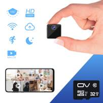 Mini Spy Camera VStarcam 1080P Hidden Camera Portable Wireless Cam Built in Battery, WiFi Hidden Spy Cam with Night Vision & Motion Detection for Home and Office Security Monitor (with 32GB TF Card)