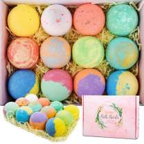 Bath Bombs 12 Gift Set, Handmade Bubble Bath Bombs Rich in Pure Essential Oils, Shea Butter, Coconut Oil, Bubble Bath Spa Fizz Moisturize Dry Skin, Birthday Valentines Christmas Gifts for Women