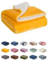 WONDER MIRACLE Fuzzy Sherpa Double Layers Super Thick and Warm Fleece Reversible Infant,Baby,Toddler,pet Blanket for Crib, Stroller, Travel, Couch and Bed (40Wx50L, S-Sunny Yellow)