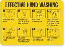 """""""Effective Hand Washing"""" Sign by SmartSign   10"""" x 14"""" Plastic"""