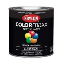 Krylon K05605007 Colormaxx Brush On Paint, 1/2 Pint, Black