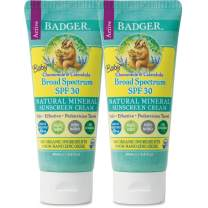 Badger - SPF 30 Baby Sunscreen Cream with Zinc Oxide - Broad Spectrum & Water Resistant, Reef Safe Sunscreen, Natural Mineral Sunscreen with Organic Ingredients 2.9 fl oz (2 Pack)