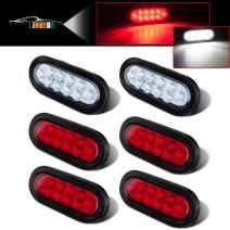 "LIMICAR 4 RED 2 White 6"" Oval LED Trailer Tail Lights Kit 10-LED Stop Turn Brake Reverse Back UP Marker Tail Light for Truck Trailer Trail Bus RV Jeep 2 Pack"