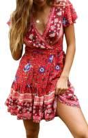 Shawhuwa Bohemian Dresses for Women Summer V Neck Floral Print Ruffle Swing Beach Mini Dress