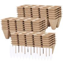 URATOT 18 Pack Peat Pots Kits Seed Starter Eco-Friendly Enhance Aeration with Plant Tags for Home Plant Starters