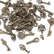 Beadthoven 50pcs Tibetan Style Key Pendants Skeleton Keys Bulk Vintage Antique Look Replica Charms for Jewelry Accessories Making Bracelets Necklaces(Antique Bronze)