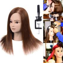 "100% Real Human Hair Mannequin Head With Hair Human Hair Training Maniqui Head For Hairdresser Hairdressing Doll Heads Manikin Head Dark Brown 18""-20"" (From Forehead to The Back Hair End)"