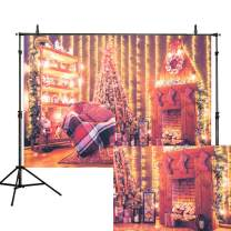 Lelinta 7X5FT Christmas Trees Backdrop Fireplace Christmas Wreath Photography Background Indoors Fireplace Gift for Xmas Tree Party Decor Supplies Photo Backdrops Banner Studio Booth Props