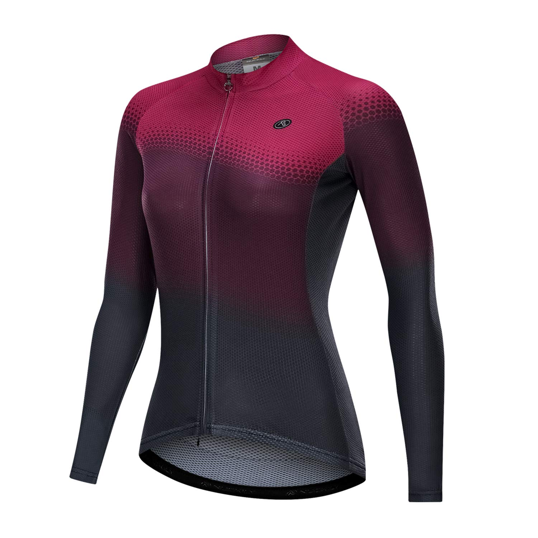 NUCKILY Women's Cycling Jersey Long Sleeve Bike Bicycle Clothing Biking Riding Shirts Cycle Wear with Zipper Pockets