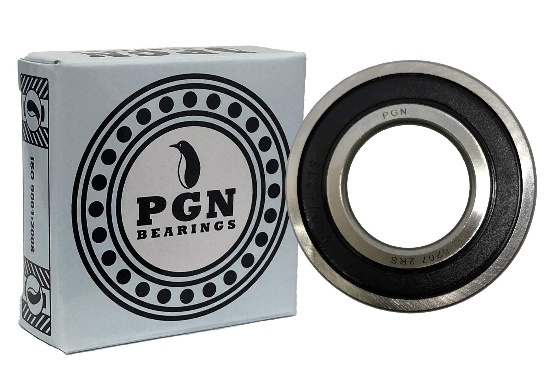 (2 Pack) PGN 6207-2RS Sealed Ball Bearing - 35x72x17 - Lubricated - Chrome Steel