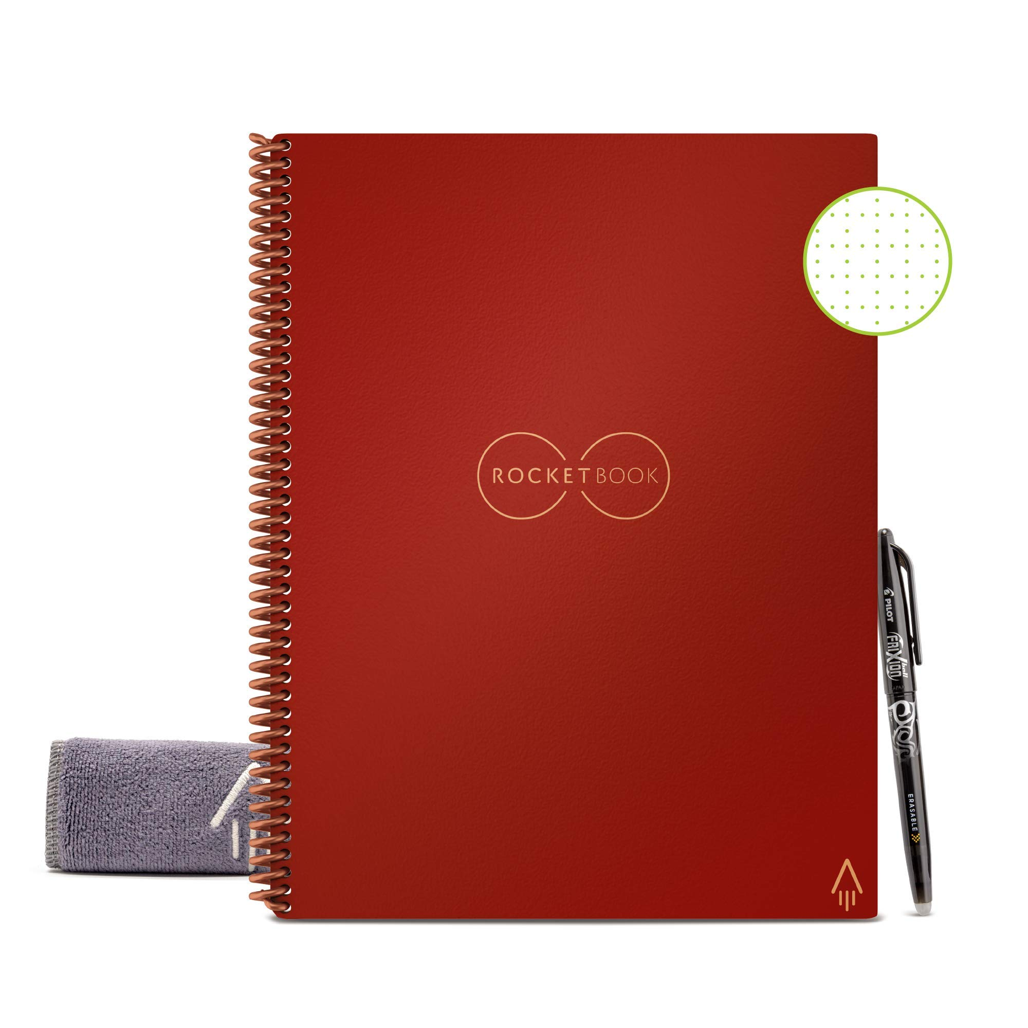 """Rocketbook Smart Reusable Notebook - Dot-Grid Eco-Friendly Notebook with 1 Pilot Frixion Pen & 1 Microfiber Cloth Included - Scarlet color Cover, Letter Size (8.5"""" x 11"""")"""