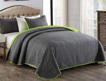 """JML Quilt Set 3 Piece Reversible King Size Bedspread with Pillow Shams, Plaid Stitched Pattern, Soft Lightweight No Fading and Shrink Resistant Microfiber Coverlet (92""""x104"""", Charcoal Gray/Lime Green)"""