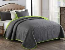 "JML Quilt Set 3 Piece Reversible King Size Bedspread with Pillow Shams, Plaid Stitched Pattern, Soft Lightweight No Fading and Shrink Resistant Microfiber Coverlet (92""x104"", Charcoal Gray/Lime Green)"