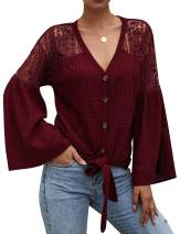 RIFESHOW Women's Hollow Out V Neck Tie Knot Bell Sleeve Button Down Blouse Tops