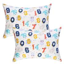 IBraFashion Kids Toddler Pillowcases 2 Packs 100% Cotton 14x19 Fits Toddler Bedding Pillow 14x19, 13x18 Small Pillow (Cute Numbers)