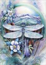 Flower Dragonfly Diamond Painting Kits - PigBoss 5D Full Diamond Embroidery Cross Stitch - Crystal Diamond Dots Kits Home Decor Art Gift (11.8 x 15.7 inches)