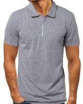 MODCHOK Men's Short Sleeve Polo Shirt Zip Casual Slim Fit T Shirts Cotton Tee Tops