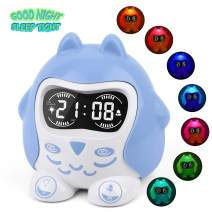 White Noise Machine, Sleep Soother Sound Therapy with 9 Sounds & Lullaby, 7-Color Night Light, Plug In/Battery Powered, Sleep Training Time to Wake Digital Alarm Clock for Kids Baby Girls Boys Bedroom