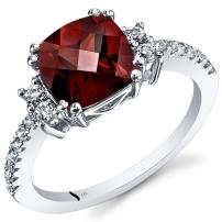 Peora Garnet Ring in 14K White Gold, Solitaire Cushion Shape, 8mm, 2.50 Carats, Sizes 5 to 9
