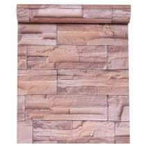 VEELIKE Stone Contact Paper 15.74 × 354.33inches Brick Wallpaper Peel and Stick Removable Waterproof Self-adheisve Wall Covering for Living Room Bedroom Kitchen Bathroom
