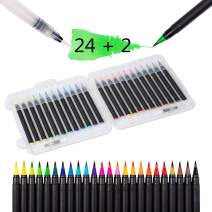 Lemical Brush Pens 20 Colors Brush Pens With 1 Extra Brush Pen Watercolor Nylon Brush Tips Painting Markers for Coloring Calligraphy Drawing with Water Brush for Artists and Beginner Painters