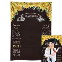 Funnytree 5X7FT Durable Fabric Graduation Chalkboard Photography Backdrop Sunflowers Floral Selfie Photo Background for College Grad Class of 2020 Congrats Party Banner Prom Decorations Props