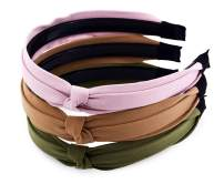 STHUAHE 3 Pack Fashion Headbands, Smiple style Solid Cloth Wide Hairband Knot Turban Headband Vintage Headwear Elastic Hair Hoops Hair Accessories by Beauty Hair for Women Girls (Pink/Camel/Olive)