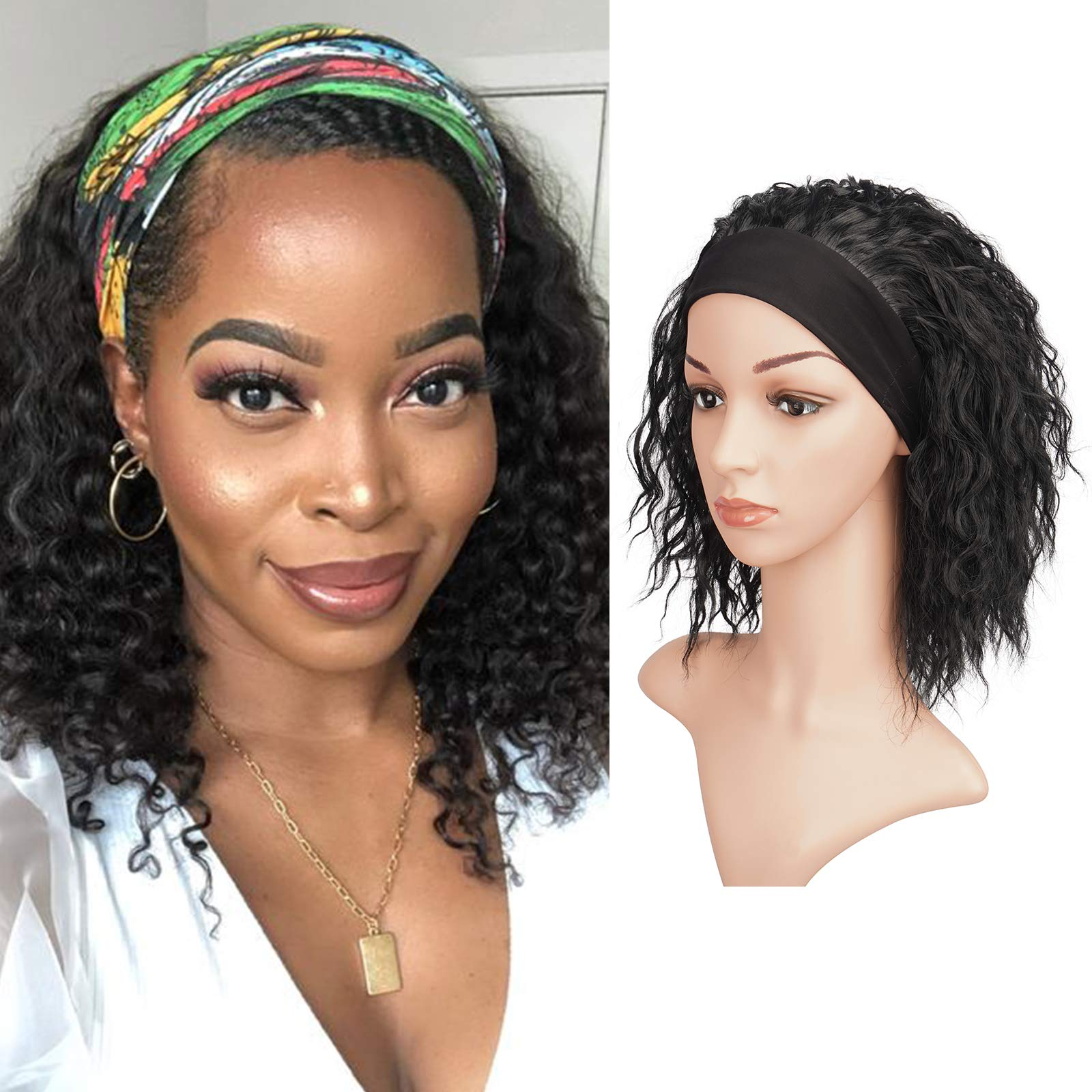 Headband Wigs for Black Women, BARSDAR Curly Synthetic Hair Wigs 16 inch Fully None Lace Front Hair Wig with Black Headband Natural Color Yaki Hair Easy to Wear(Off Black)