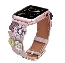 V-MORO Flowers Leather Bands Compatible with Apple Watch Bands 42mm 44mm Series 5/4/3/2/1 with Stainless Steel Buckle Rose Gold Replacement Strap Wristbands Women (Rose Gold, 42mm)