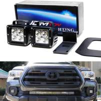 iJDMTOY LED Pod Light Fog Lamp Kit Compatible With 2016-up Toyota Tacoma, Includes (2) 20W High Power CREE LED Cubes, Foglight Bezel Covers, Mounting Brackets & Wiring/Adapter Harnesses