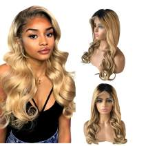Human Hair Lace Front Wig 100% Real Brazilian Hair 150% Density Ombre Black Roots 1B/27 Color Wig for Black Women 14 Inch Middle Part
