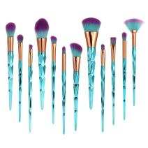 DRQ Makeup Brushes- 12Pcs Colorful Diamond Shaped Handle Fashion Professional Makeup Brush Set - Foundation Power Eyeshadow Eyebrow Concealer Lip Brush Cosmetic Blending Brush Tool With Bag